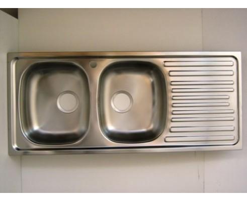 Lavello per cucina inox incasso 2 vasche +gocciolatoio CM 116