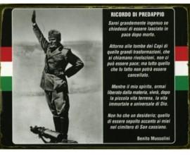 MUSSOLINI TARGA IN LATTA ANTICHIZZATA RICORDO DI PREDAPPIO